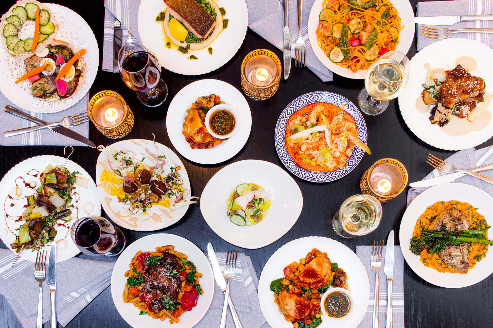 Overhead flatlay of Babel's Winterlicious offerings