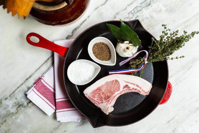 Staub Cast Iron Pan + Tamarack Farms Berkshire Pork Chop