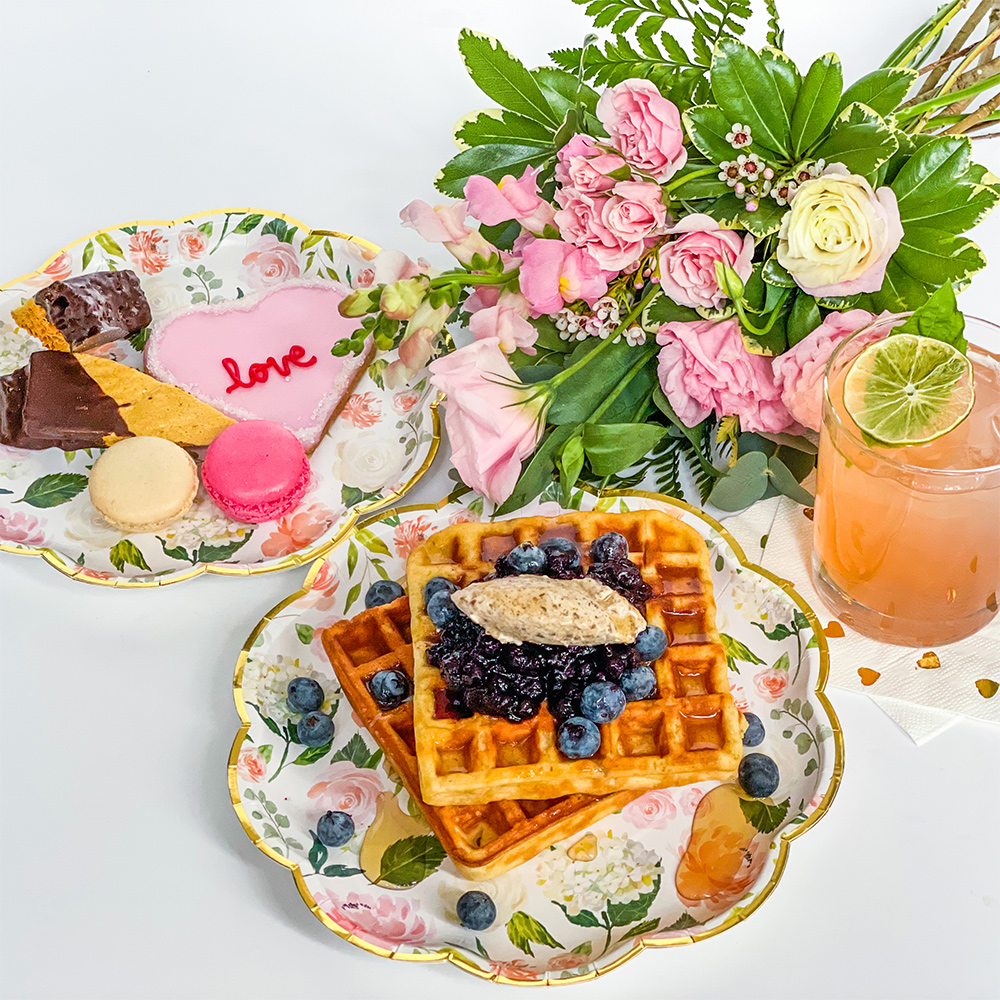 Blueberry waffles and florals
