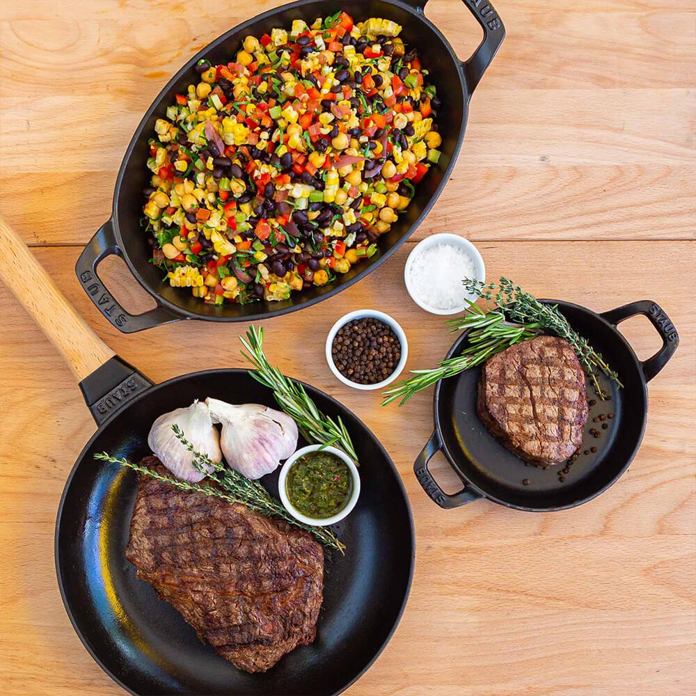 Virtuals Events steak and bean salad