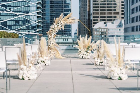 Intimate wedding ceremony set up on the rooftop at Malaparte in Toronto