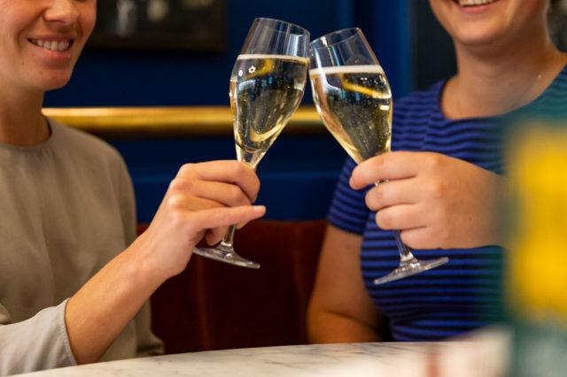 Ladies cheers with sparkling wine