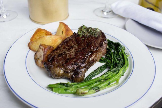 Steak with rapinin and roasted potatoes at Parcheggio