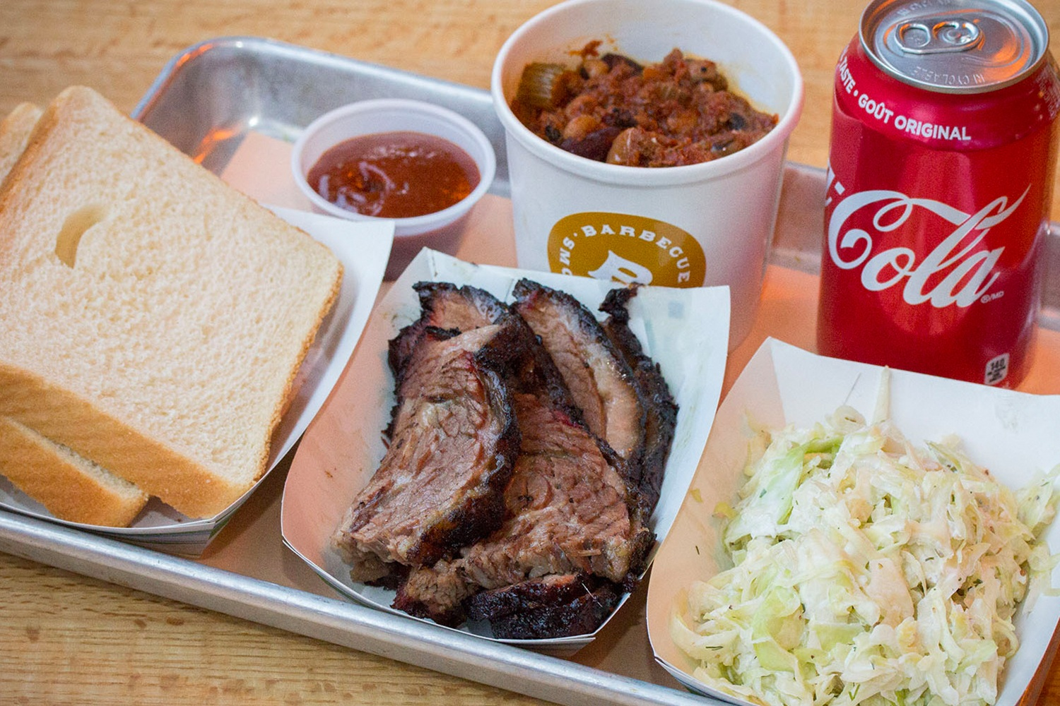 Combo platter with brisket and coleslaw at Beauty Barbecue & Smokehouse