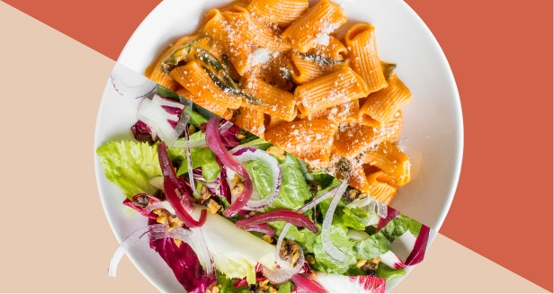 Graphic of overhead shots of Rigatoni Rosé and Radicchio and Endive salad split into two