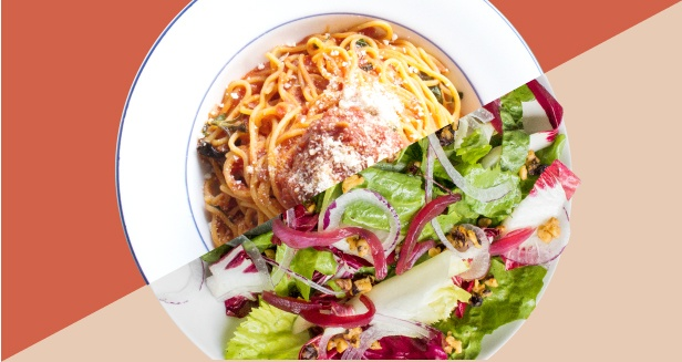 Graphic of overhead shots of Spaghetti Pomodoro and Radicchio and Endive salad split into two
