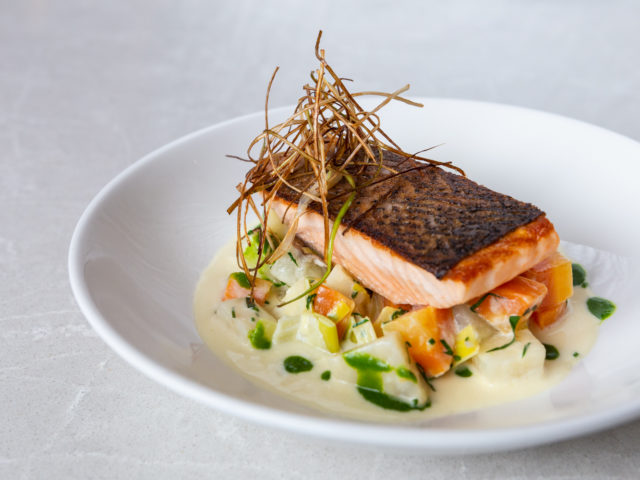 Roasted Salmon Entrée at Beaumont Kitchen for Winterlicious Toronto
