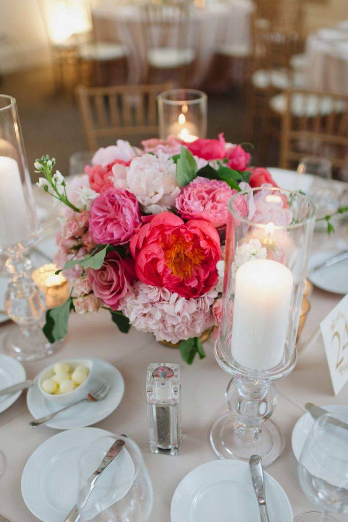 Lush pink floral arrangement on a table at Arcadian Court in Toronto