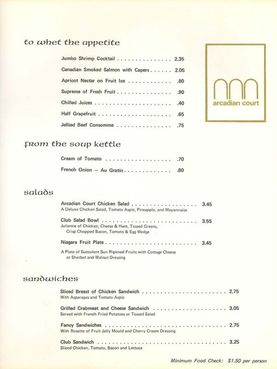 an old menu for the Arcadian from 1968