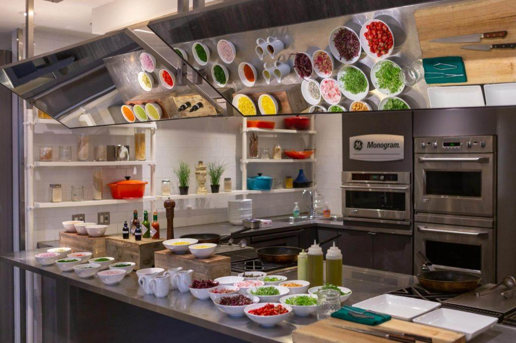 Toppings and ingredients set up in Arcadian Studio in Toronto to make ceviche