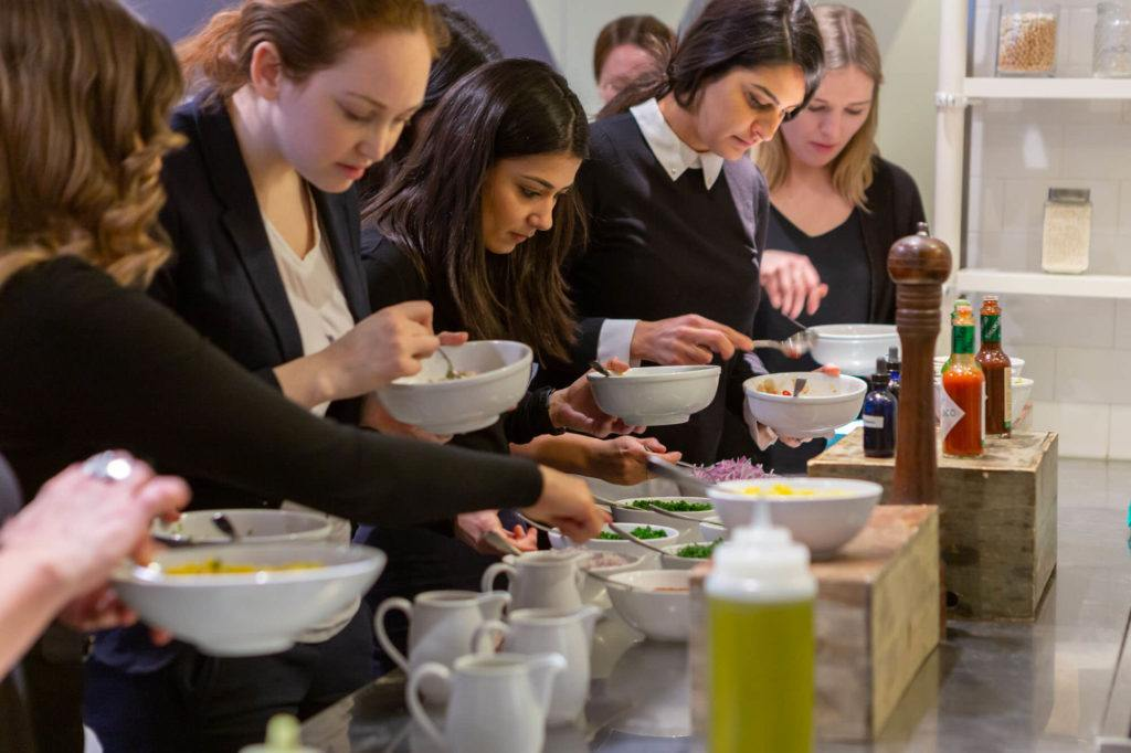 Participants of ceviche class choose ingredients to make their own personalized dish in Arcadian Studio