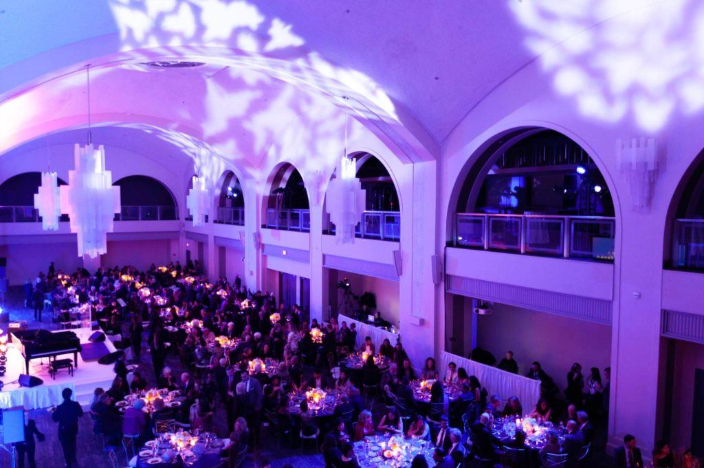Overhead shot of a seated gala event at Arcadian Court