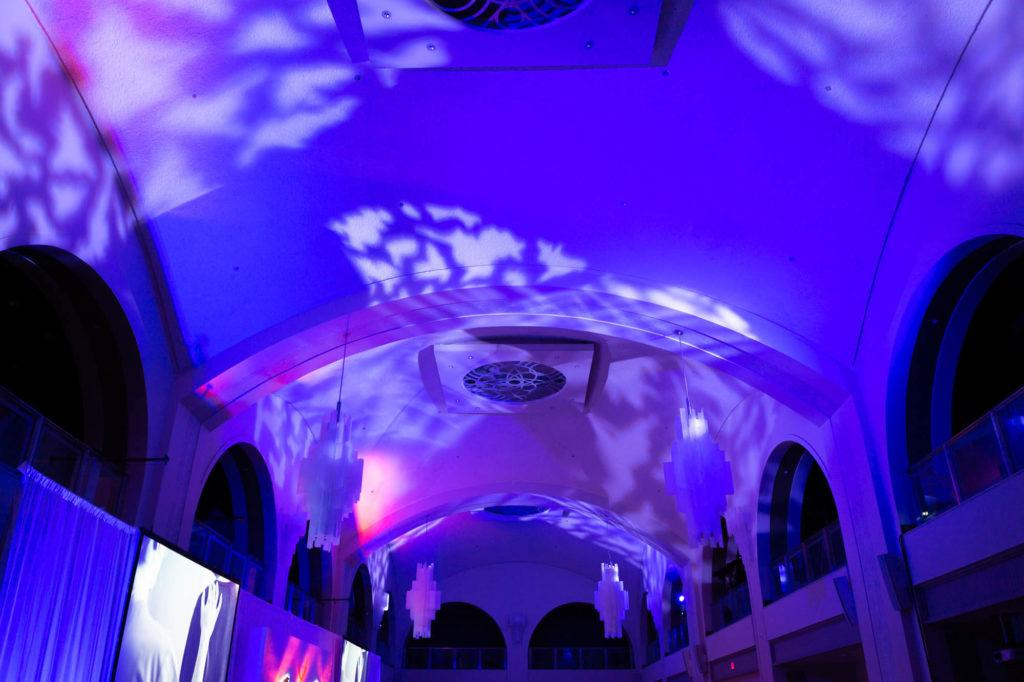 Purple lighting illuminating the ceiling at Arcadian Court in Toronto