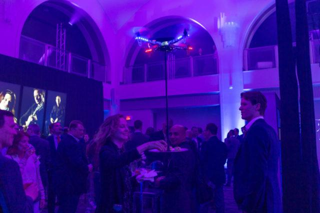 Canapés served by drones to guests