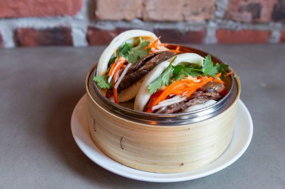 R&D Summerlicious Banh Mi Bao with beef cheek pickled kohlrabi maggi jus sambal aioli