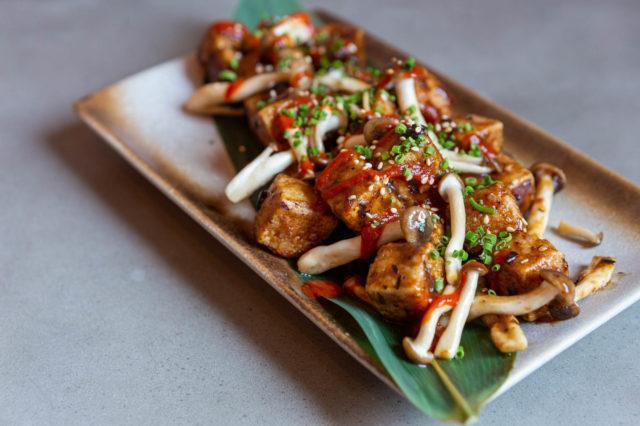 R&D Summerlicious Black Bean Crispy Tofu with shimeji mushroom garlic roasted red pepper scallions