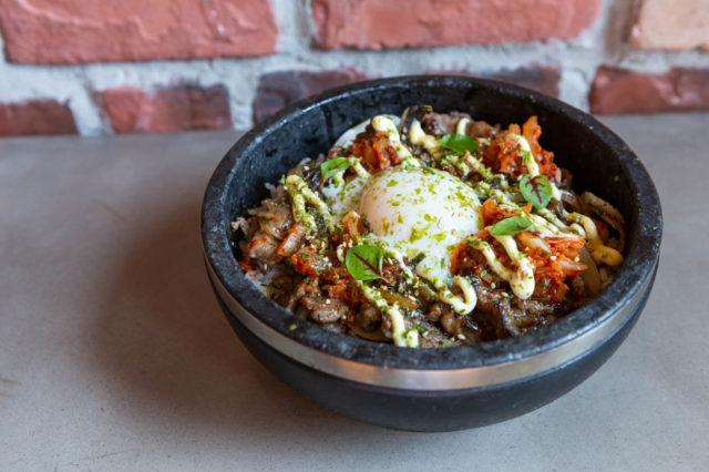 Summerlicious R&D Kalbi Beef Done with sushi rice kimchi onion nori egg kewpie mayo