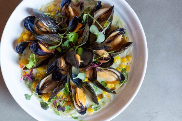 Summerlicious R&D Tom Yum Mussels with lemongrass kaffir coconut milk vermicelli beansprouts