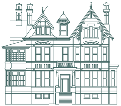 line art of the exterior Gooderham House