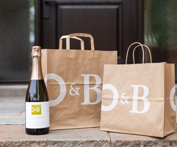 O&B Takeout and Delivery bags on front porch
