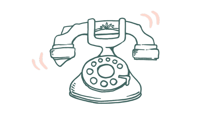 a line drawing of an old fashioned telephone