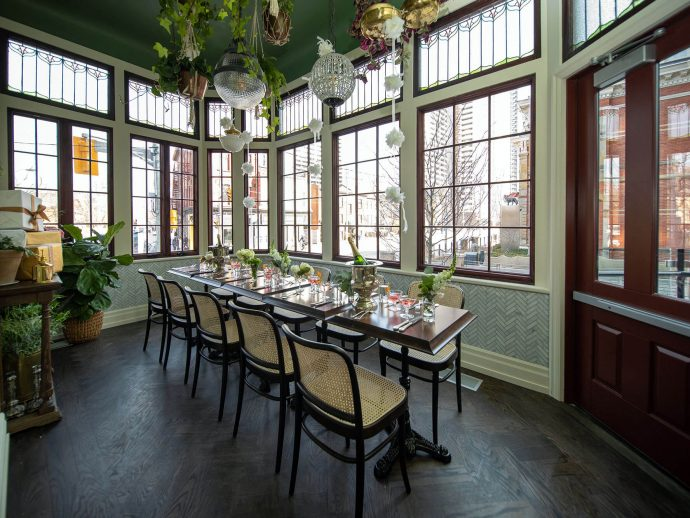 L'Orangerie private dining room at Maison Selby decorated for a wedding shower