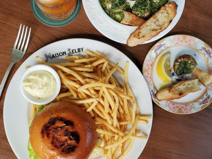 Burger and fries at Maison Selby