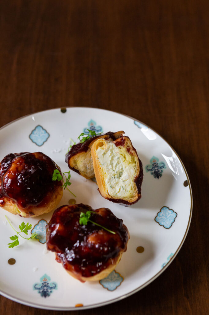 Canapes from Maison Selby's virtual events offerings