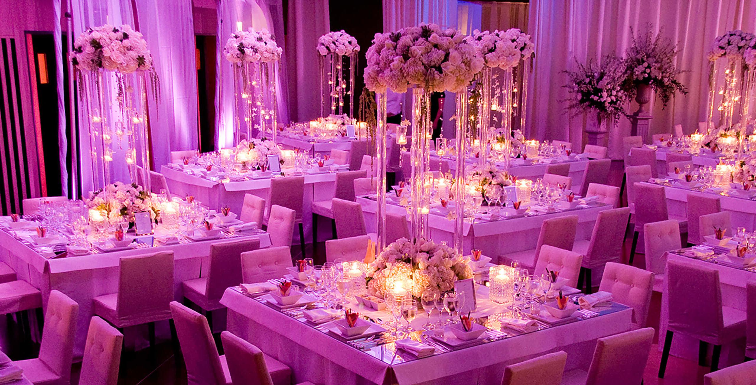 Beautiful wedding set up with floral decorations at The Carlu event venue in Toronto