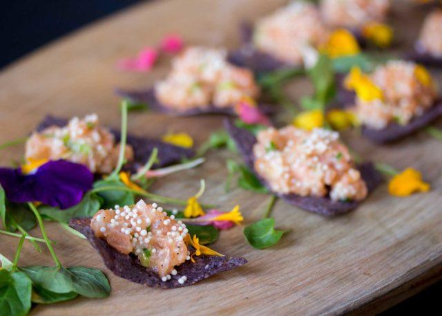 intricate and beautiful hors d'oeuvres provided by catering services at The Carlu