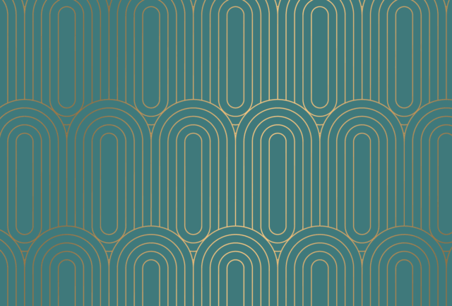 A teal background with gold art deco pattern