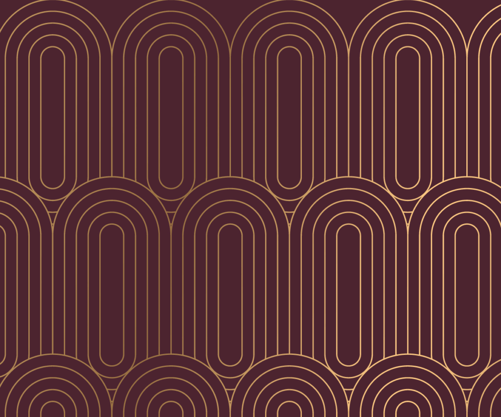 A burgundy background with gold art deco pattern