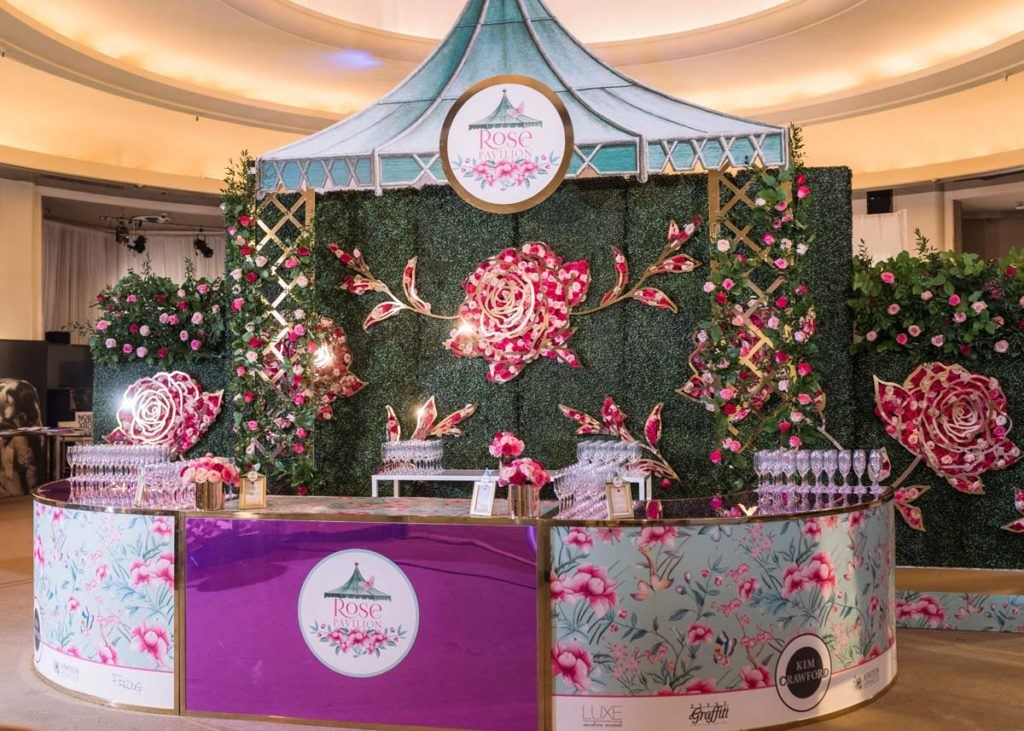 The Rose Pavilion vendor booth at the Toronto WedLuxe Wedding Show at The Carlu