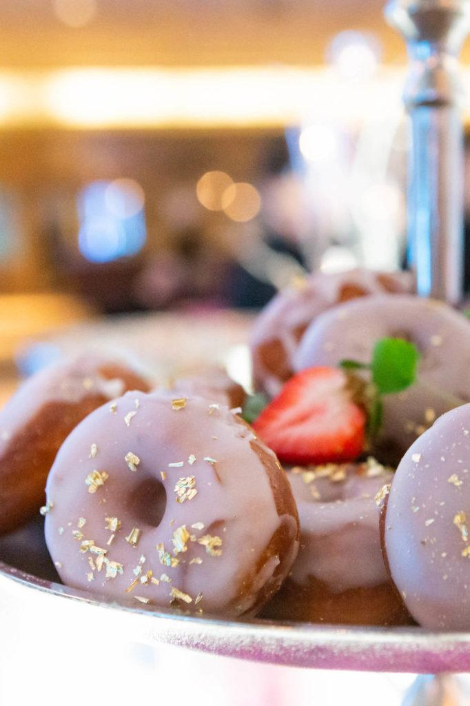 Gold-flake topped donuts at The Carlu