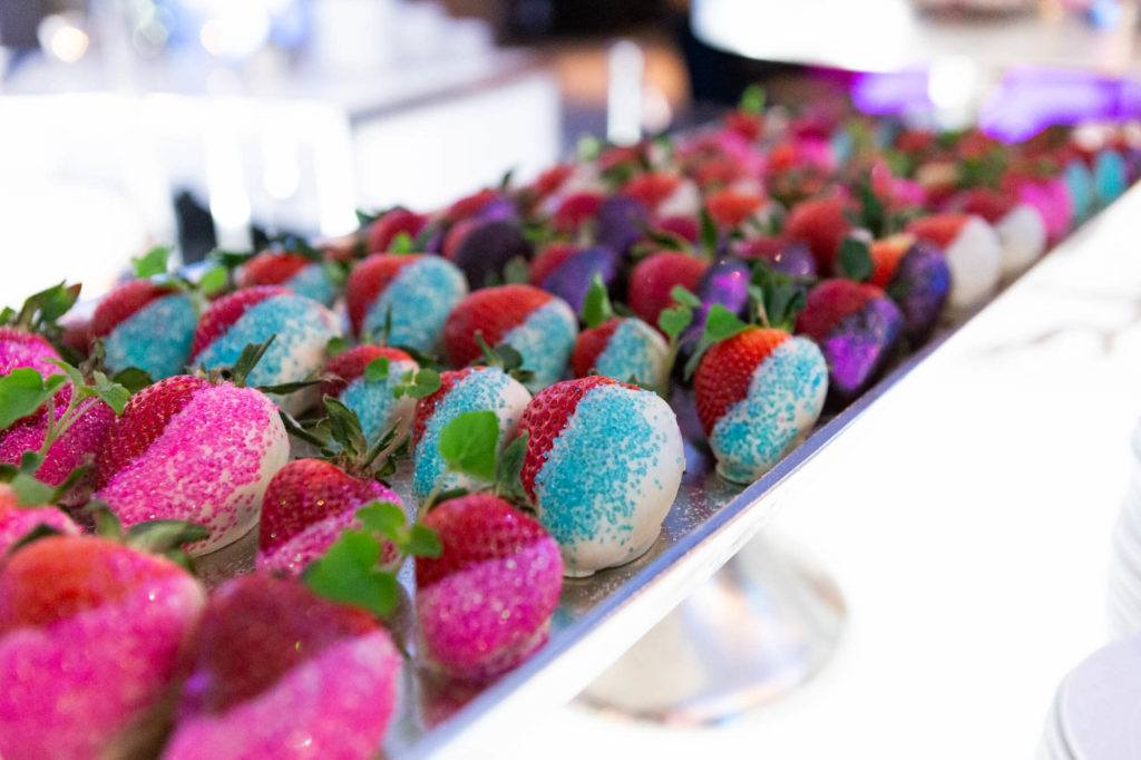 A platter of chocolate-dipped strawberries at The Carlu