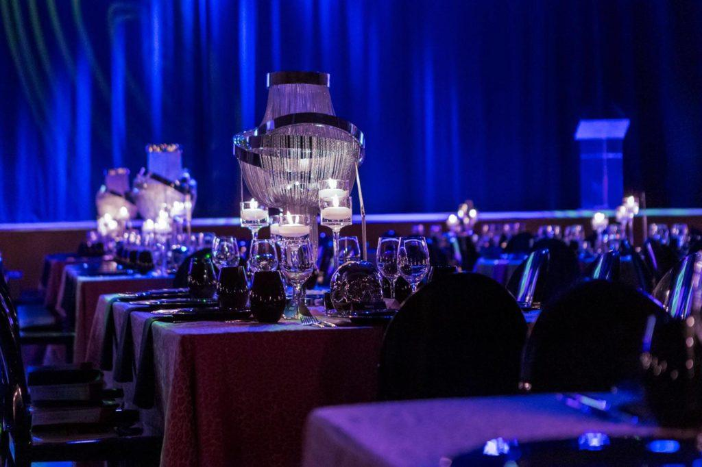 Moody tablescapes at a gala event at The Carlu