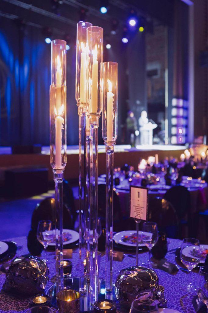 Centerpieces at a gala event in the Concert Hall