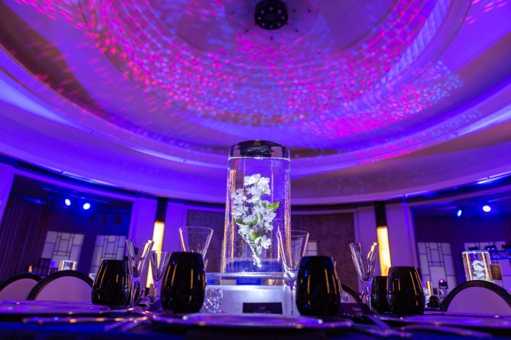 Ice sculpture centrepiece in the Round Room