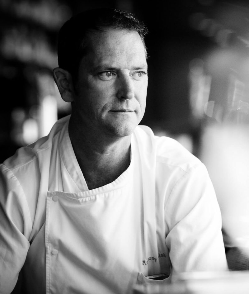 black and white portrait of chef Anthony Walsh
