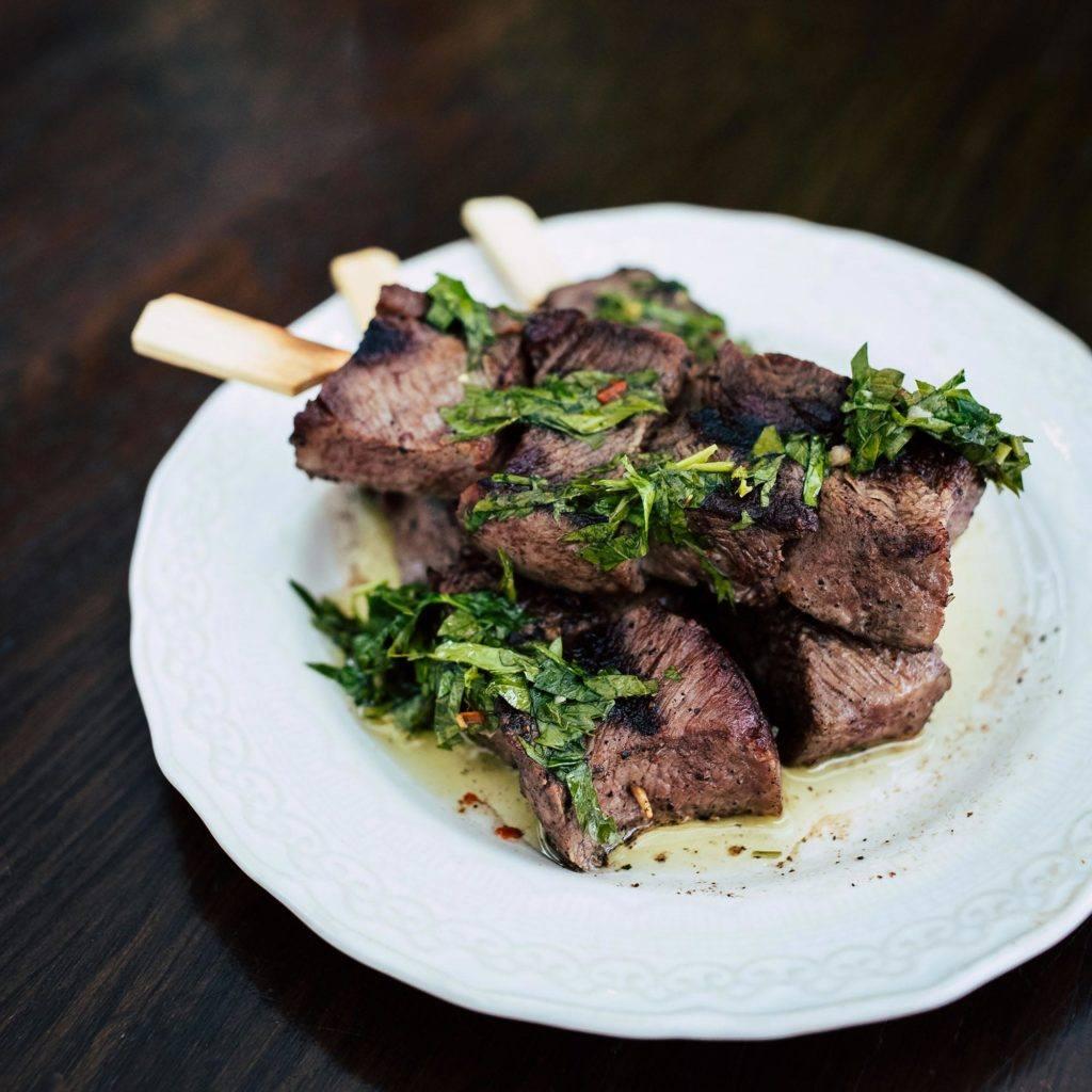 plate of beef skewers