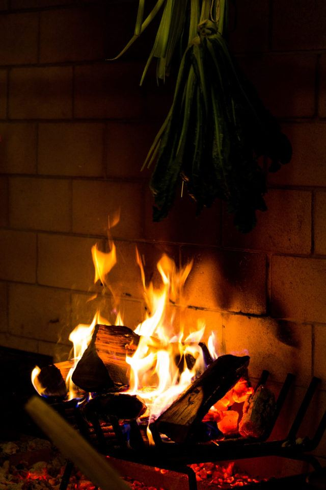 fire in the hearth at Babel restaurant in Toronto