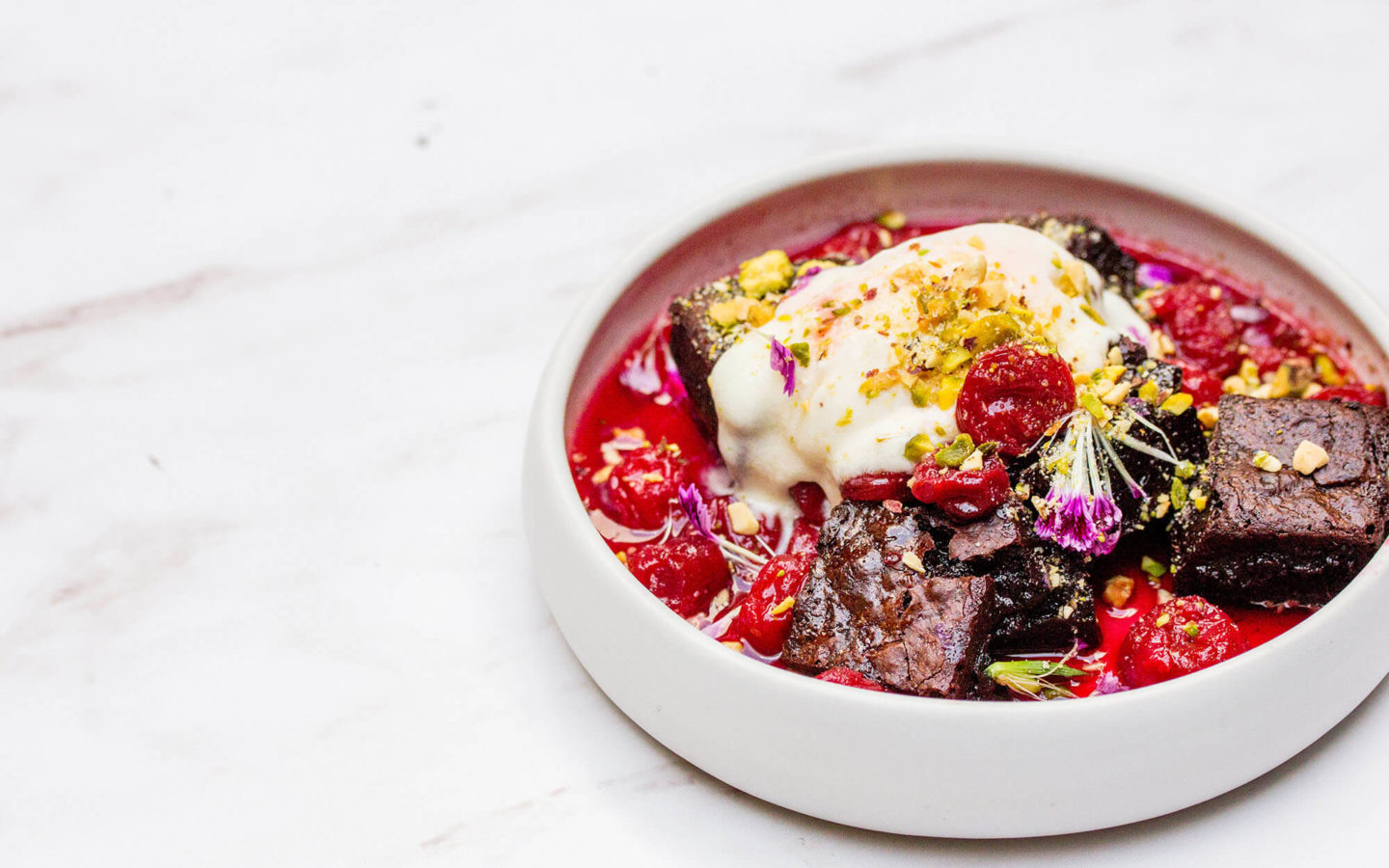 cherry & chocolate labneh ice cream sundae