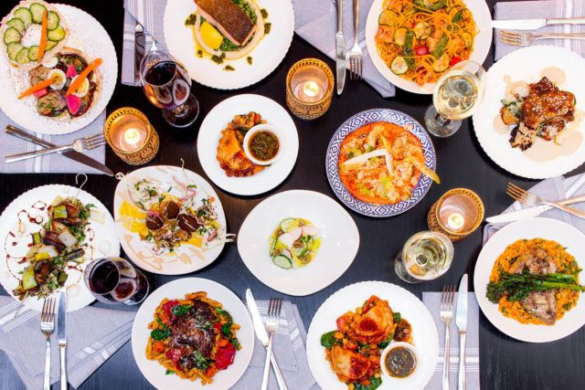 Flatlay of Winterlicious dishes at Babel