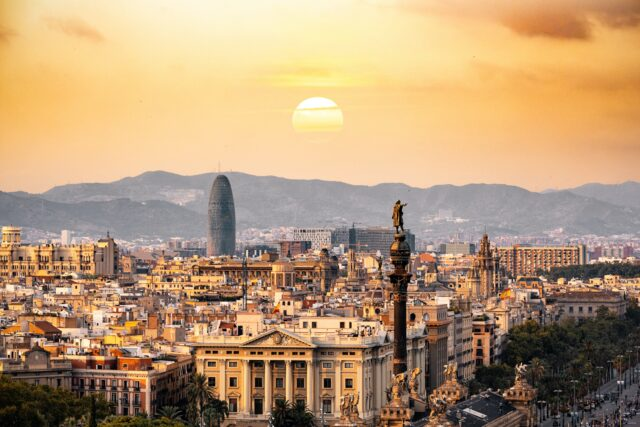 Sunset over the city of Barcelona
