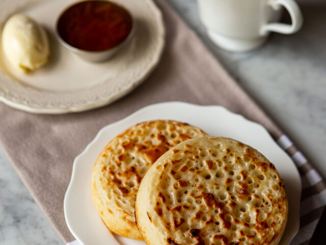 Fresh Crumpets with marmalade, sea salt butter and a cup of tea