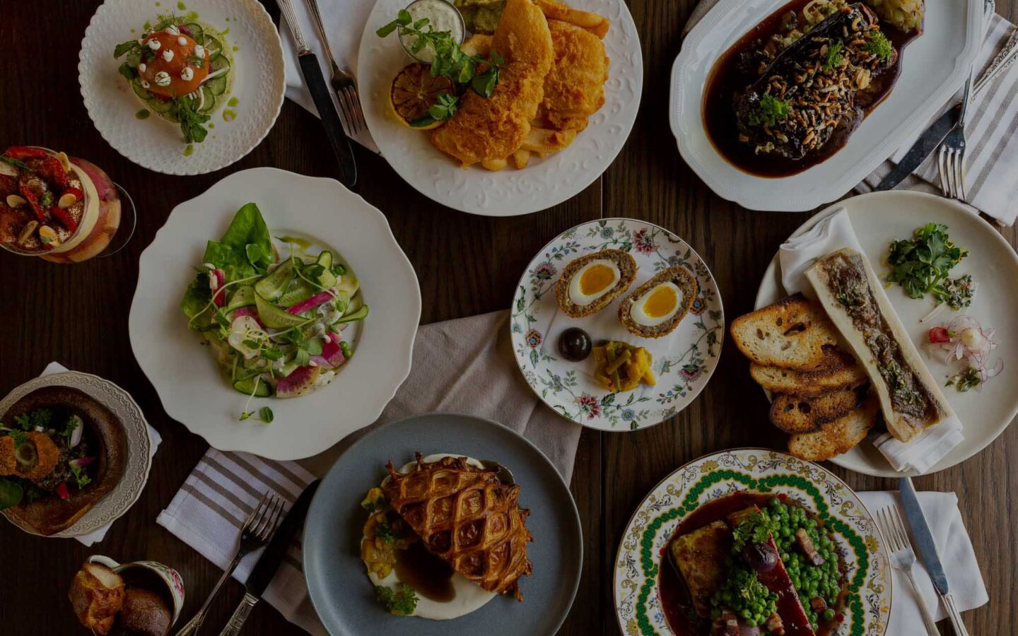 Overhead flatlay of a variety of dishes from The Rabbit Hole in Toronto